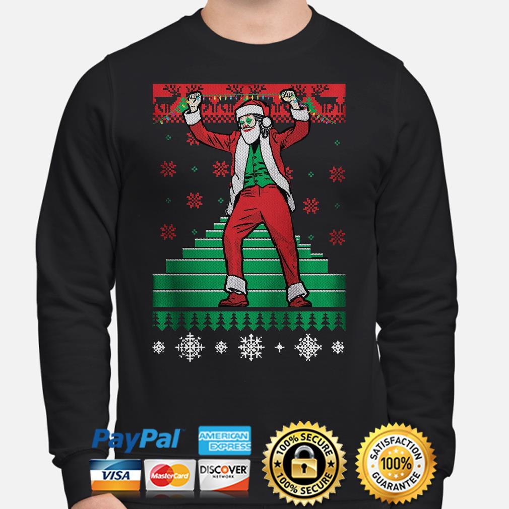 Santa Claus Joker dance stairs ugly Christmas sweater