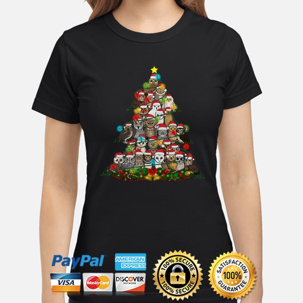 Santa Claus Owls Christmas lights tree ladies shirt