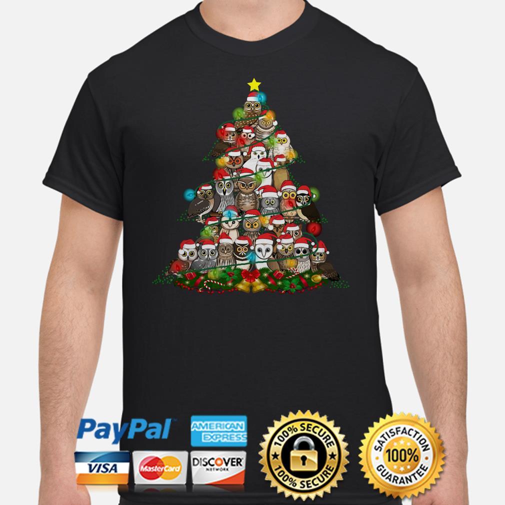 Santa Claus Owls Christmas lights tree shirt