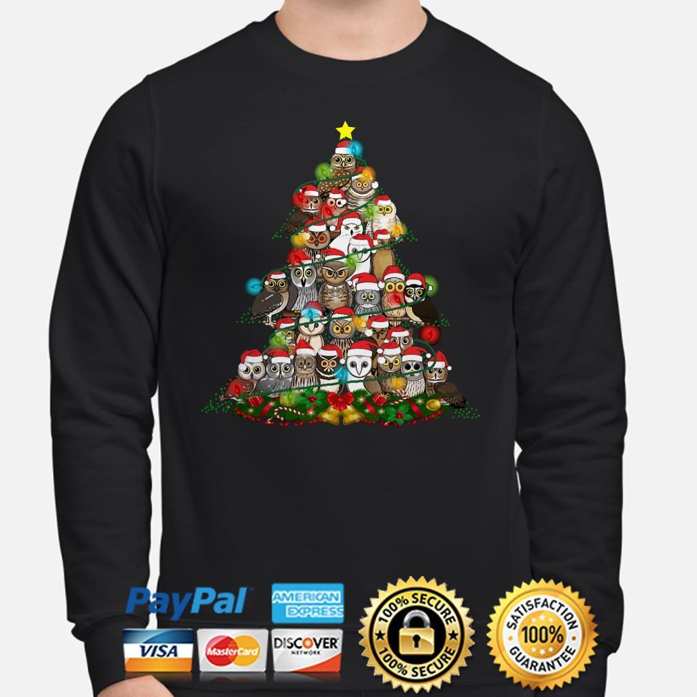 Santa Claus Owls Christmas lights tree sweater