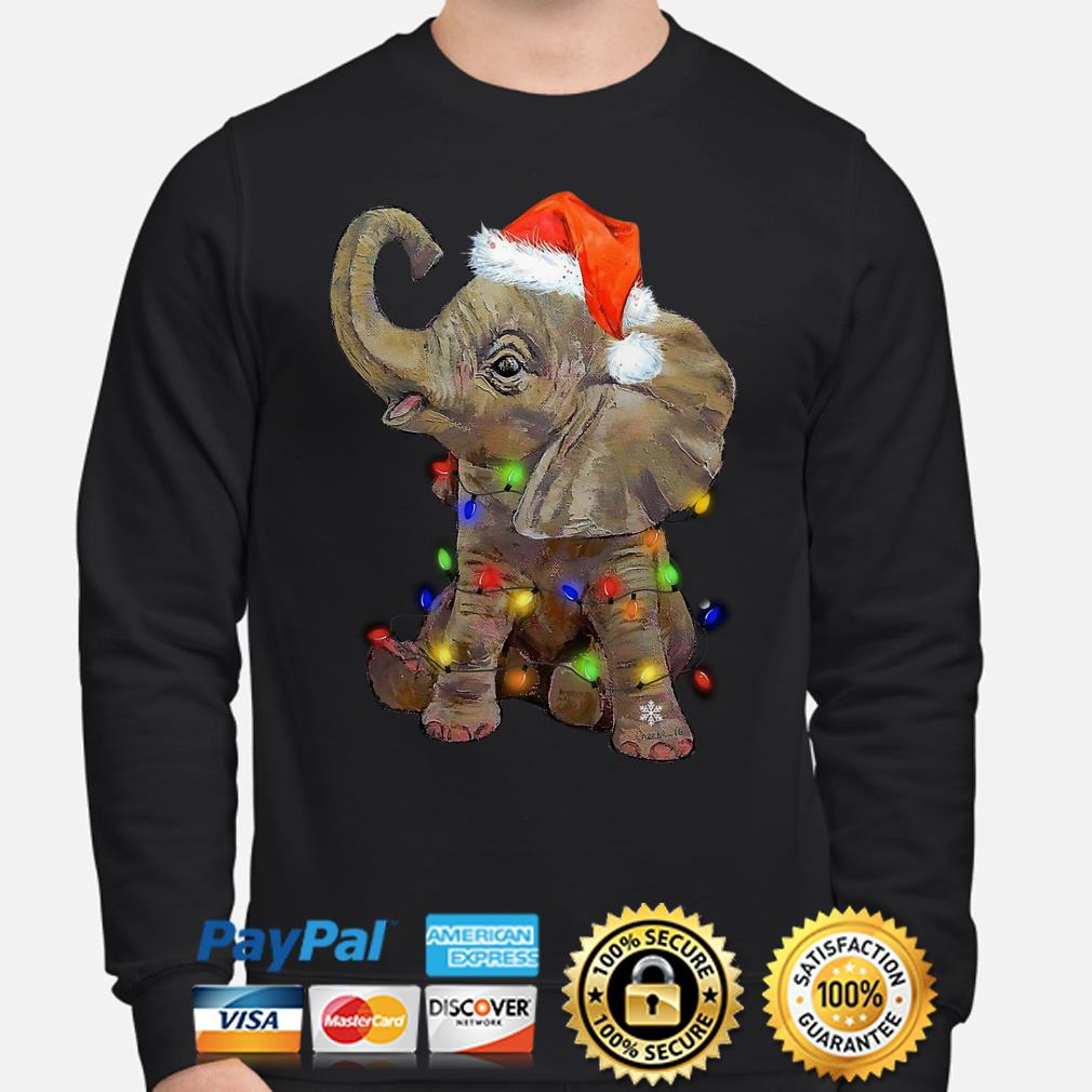 Santa Elephant Christmas lights sweater