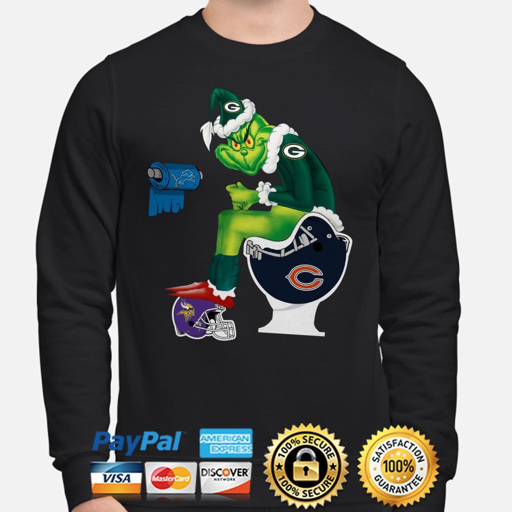 Santa Grinch Green Bay Packer sitting on Chicago Bear toilet Minnesota Vikings Detroit Lion sweater