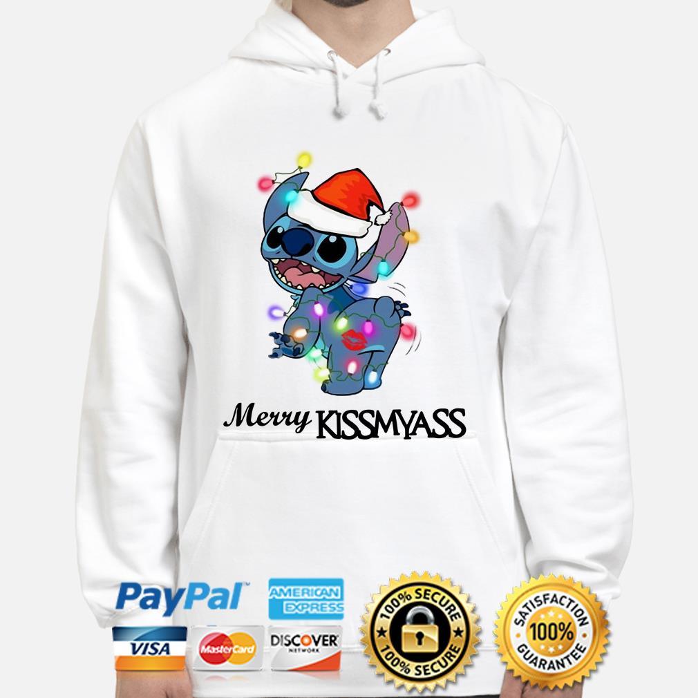 Santa Stitch Merry Kissmyass Christmas hoodie