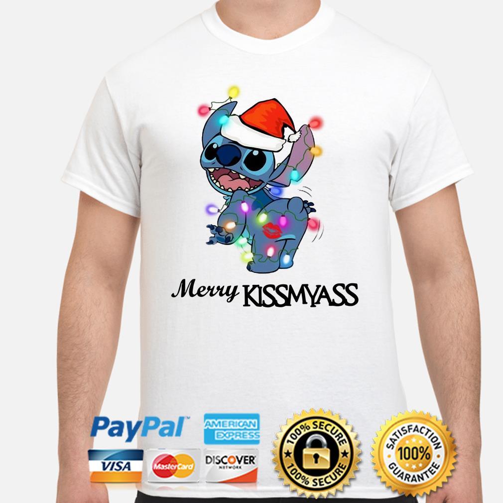 Santa Stitch Merry Kissmyass Christmas t-shirt