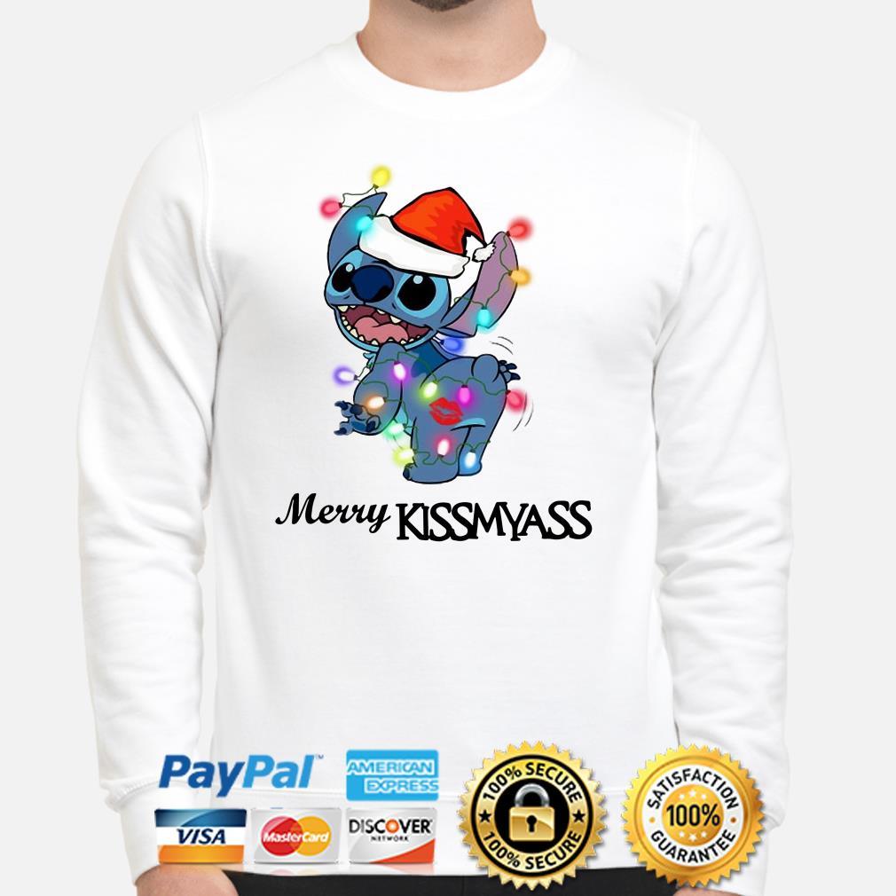 Santa Stitch Merry Kissmyass Christmas sweater