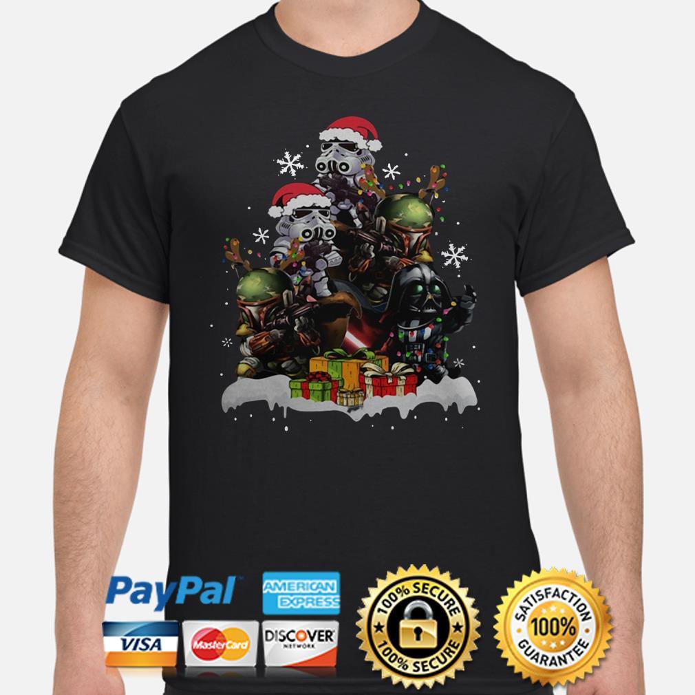 Star Wars Boba Fett Darth Vader Stormtrooper Christmas Tree T-shirt