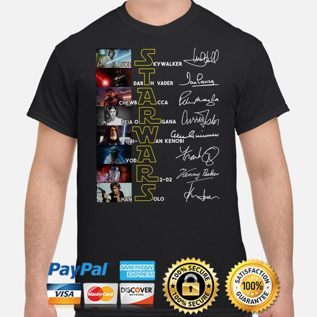 Star Wars Luke Skywalker Darth Vader Chewbacca signatures shirt