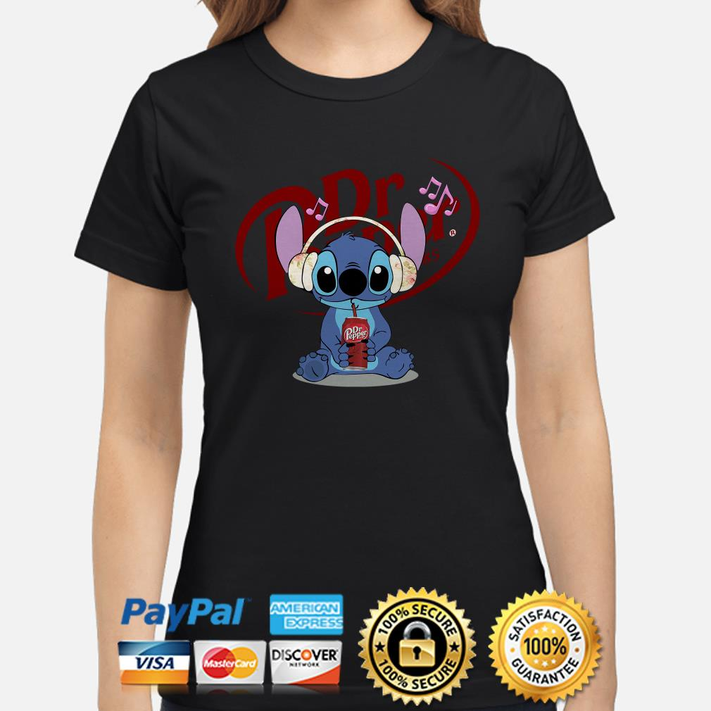 Stitch listening to music and drinking Dr pepper ladies shirt