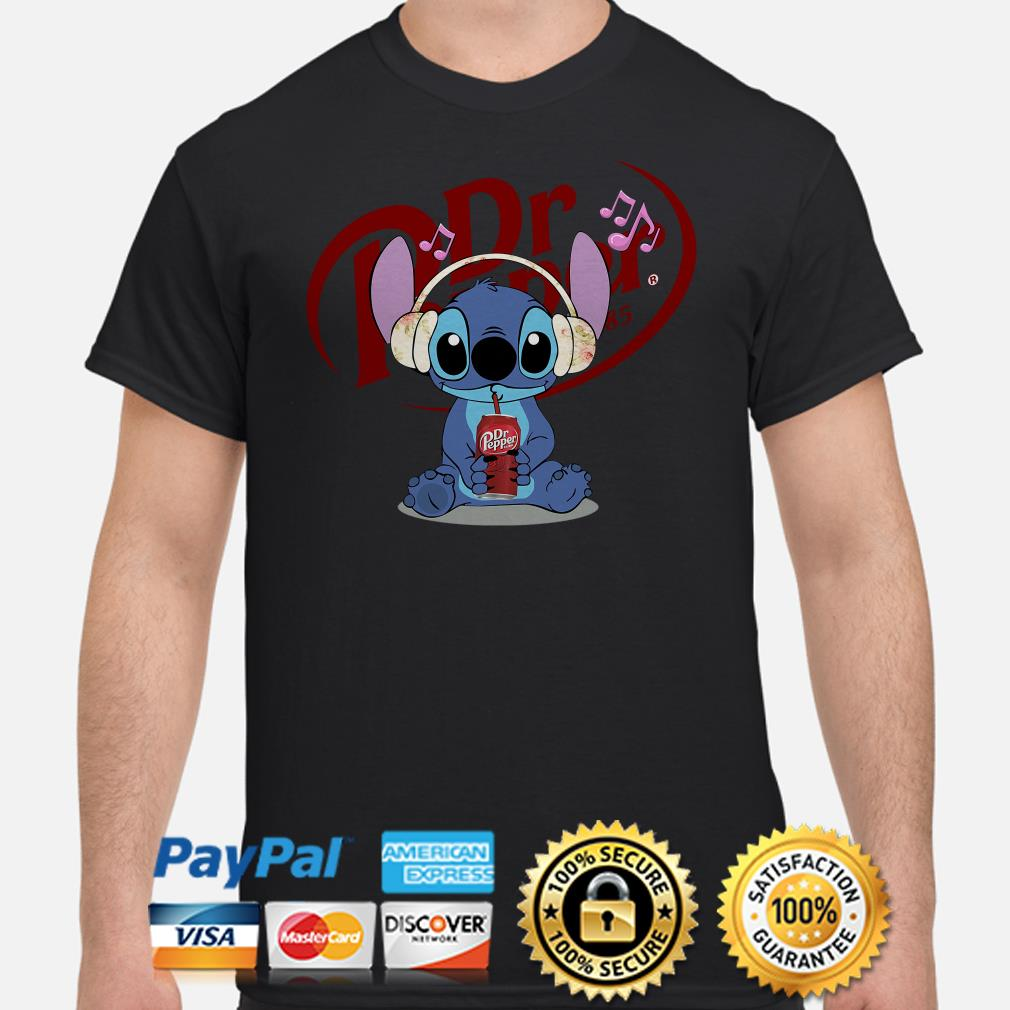 Stitch listening to music and drinking Dr pepper shirt