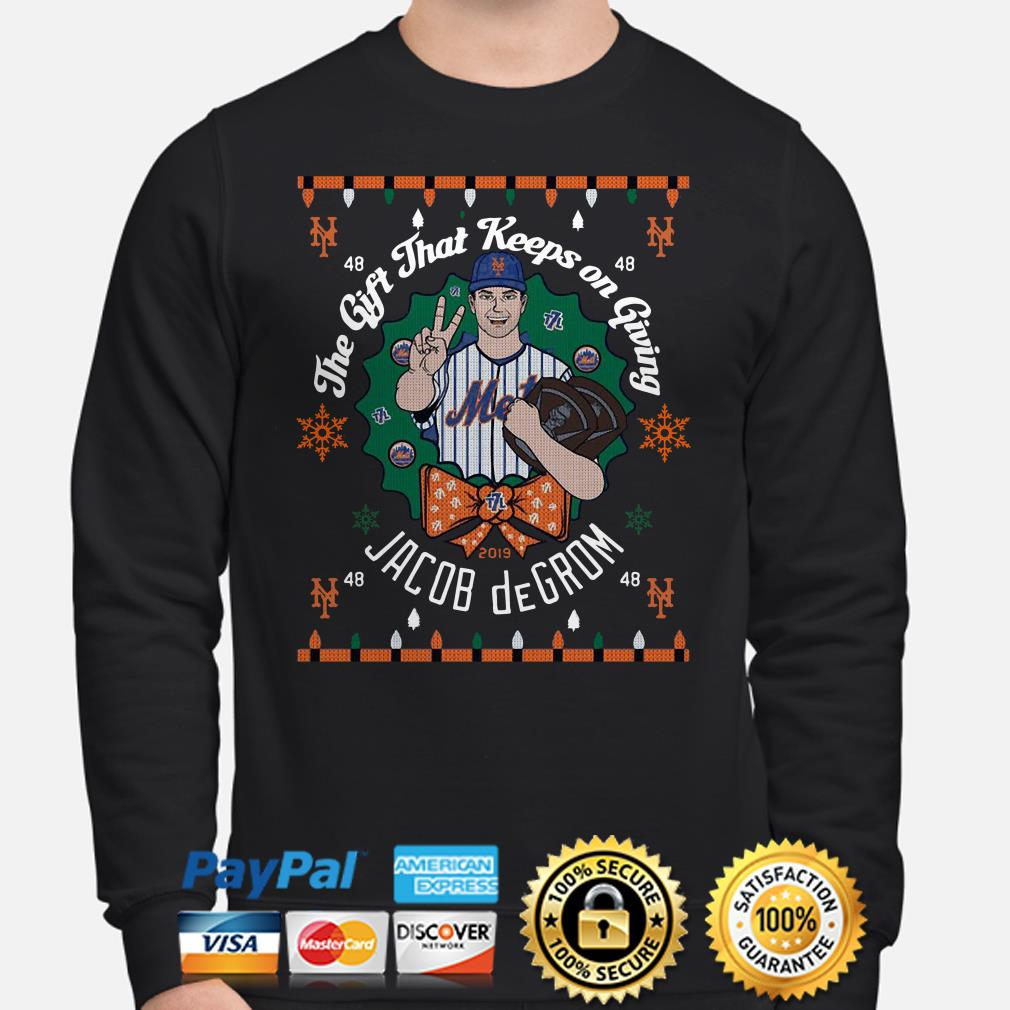 The gift that keeps on Giving Jacob DeGrom ugly Christmas Sweater