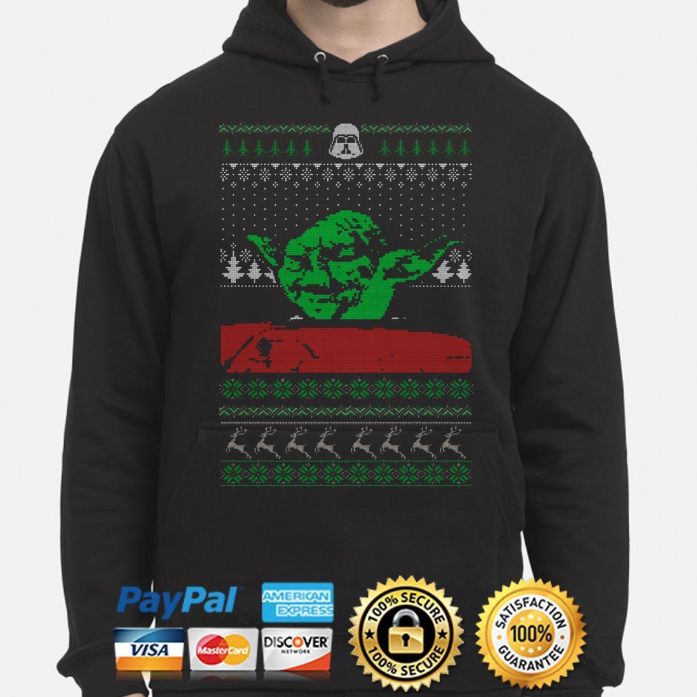 The Mandalorian Yoda Mashup dinner cat meme ugly Christmas hoodie