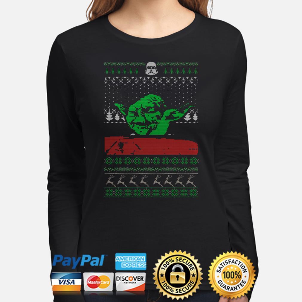 The Mandalorian Yoda Mashup dinner cat meme ugly Christmas long sleeve
