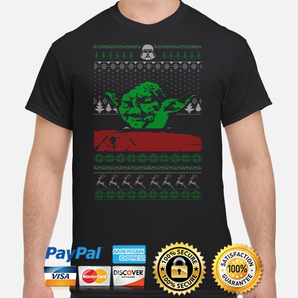 The Mandalorian Yoda Mashup dinner cat meme ugly Christmas t-shirt