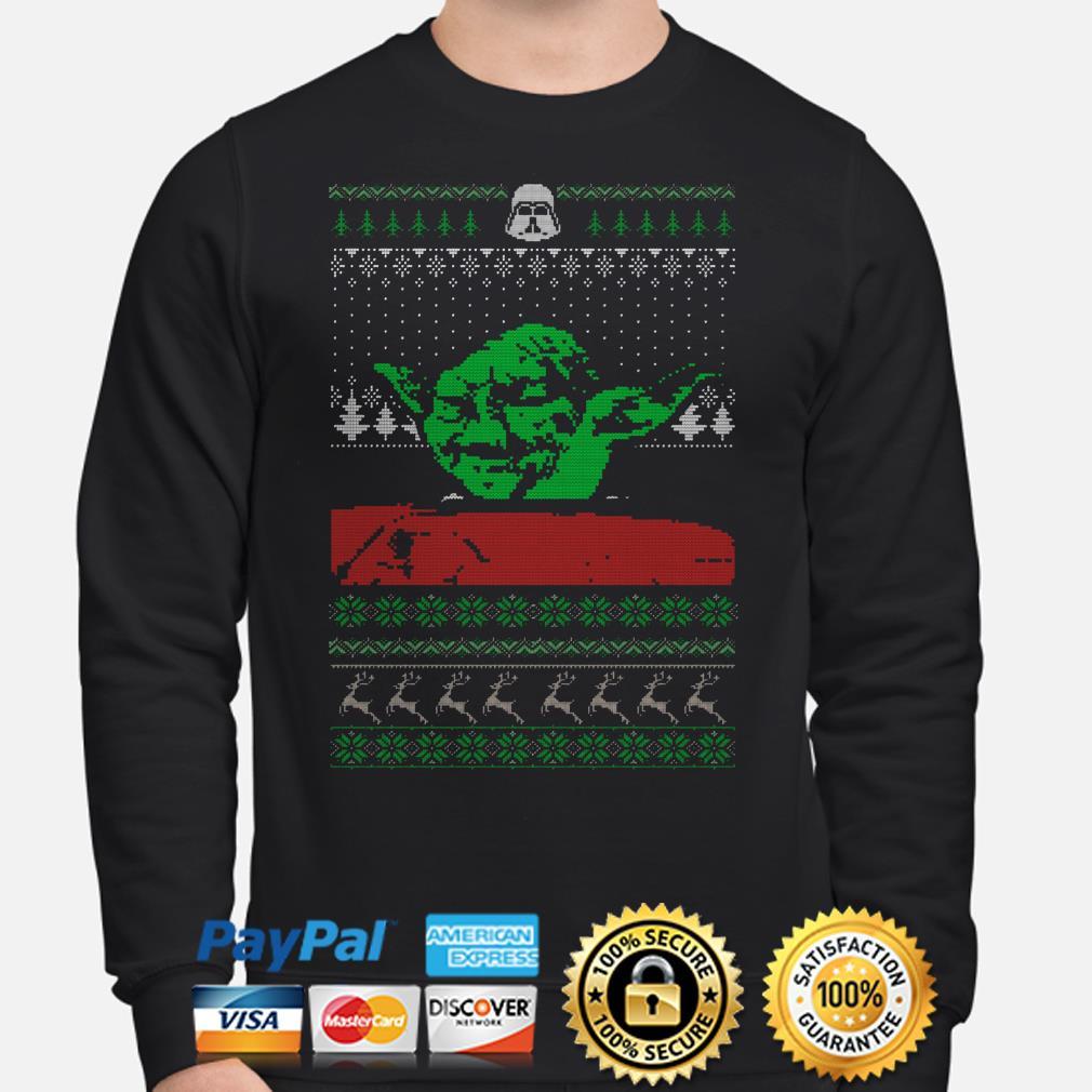 The Mandalorian Yoda Mashup dinner cat meme ugly Christmas sweater