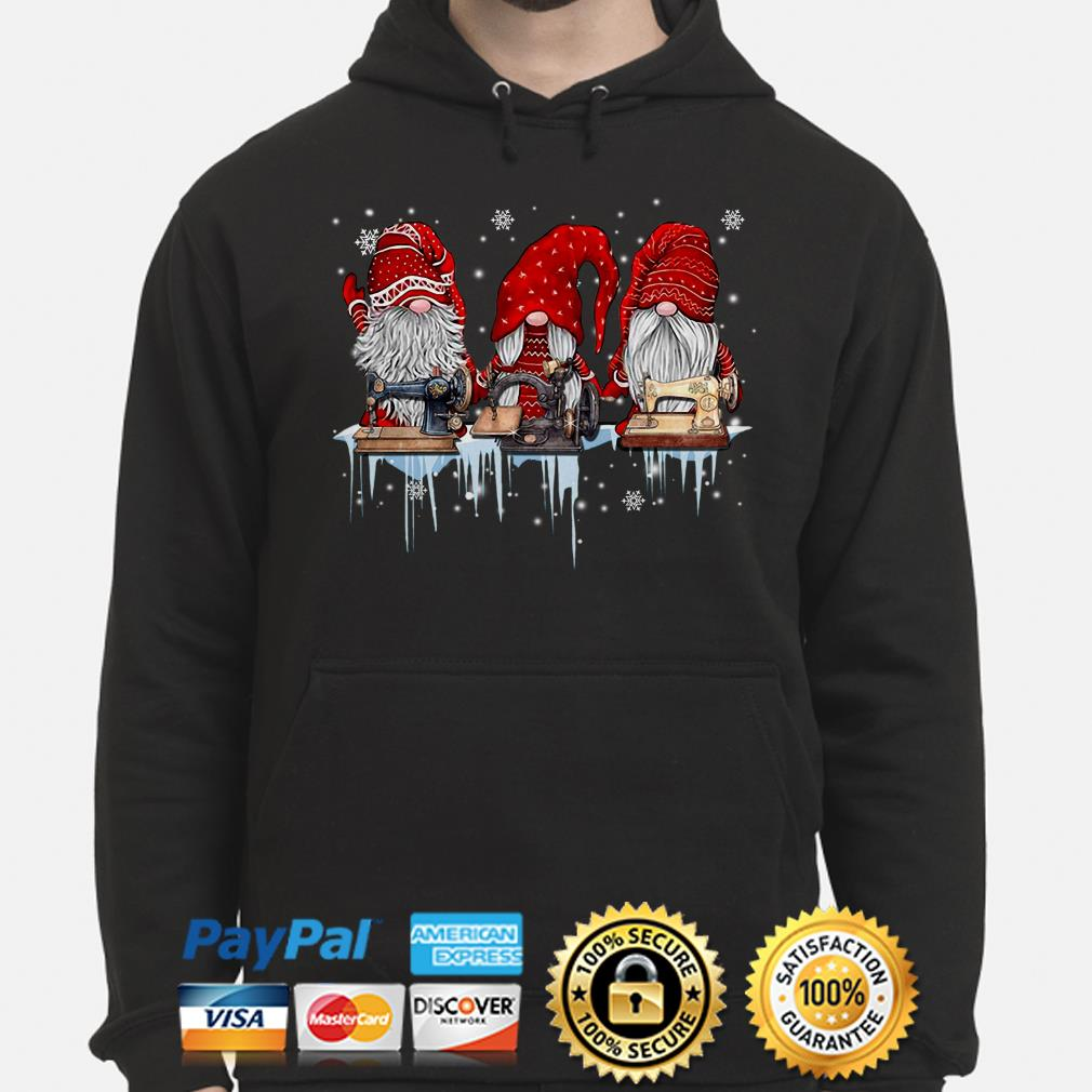 Winter Gnomes sewing Christmas hoodie