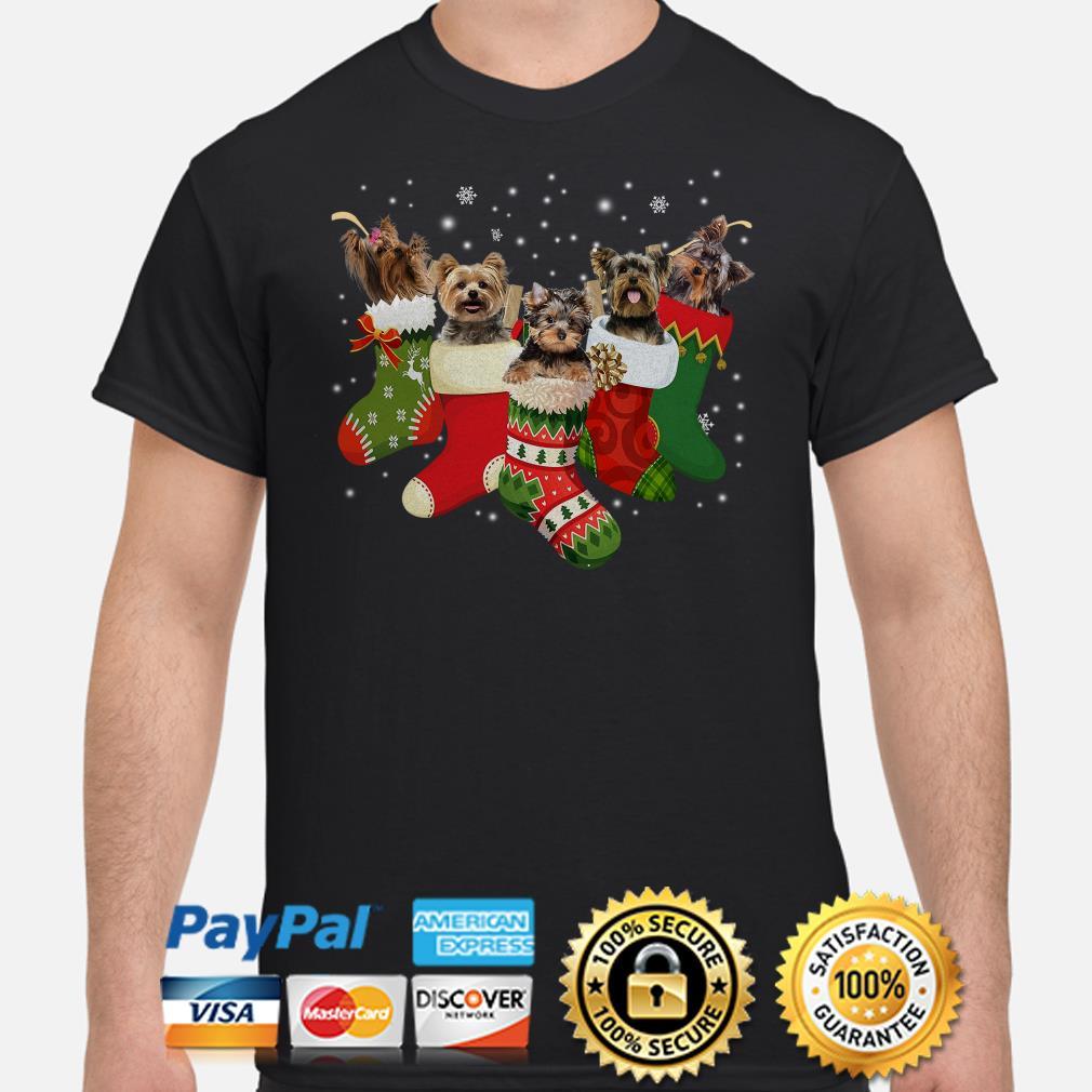 Yorkies on christmas Stocking shirt