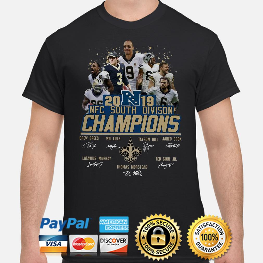 2019 NFC South Division Champions Saints New Orleans signatures shirt