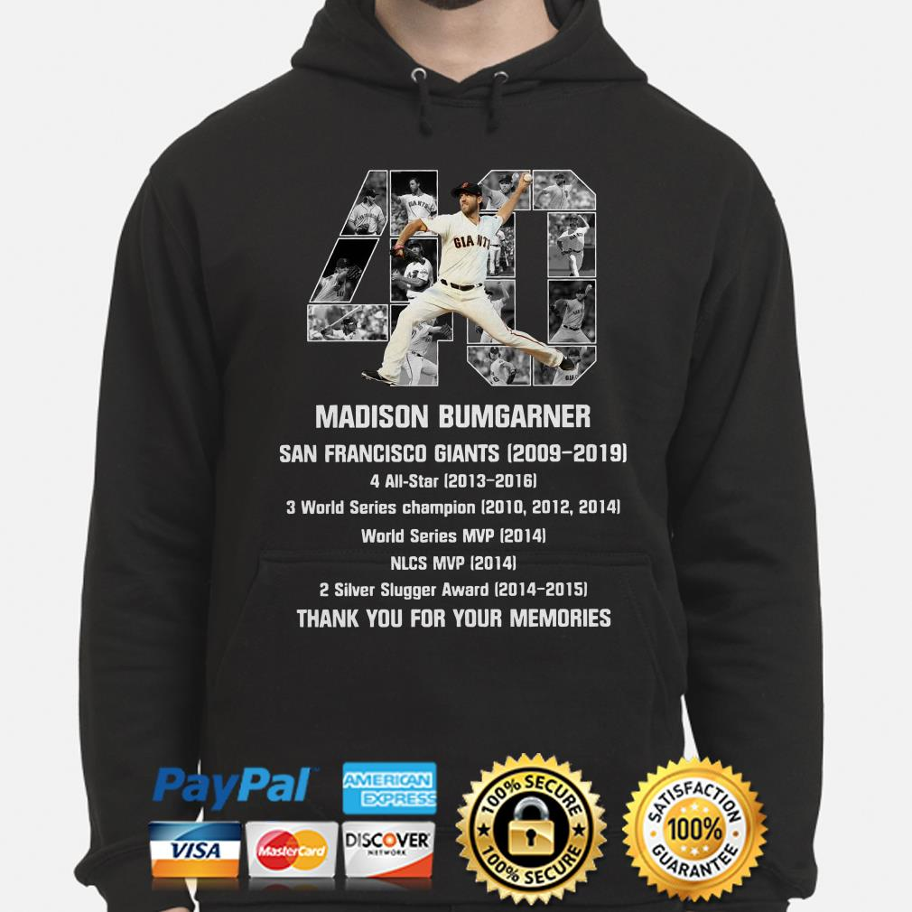 40 Madison Bumgarner San Francisco 2009 2019 thank you for the memories Hoodie