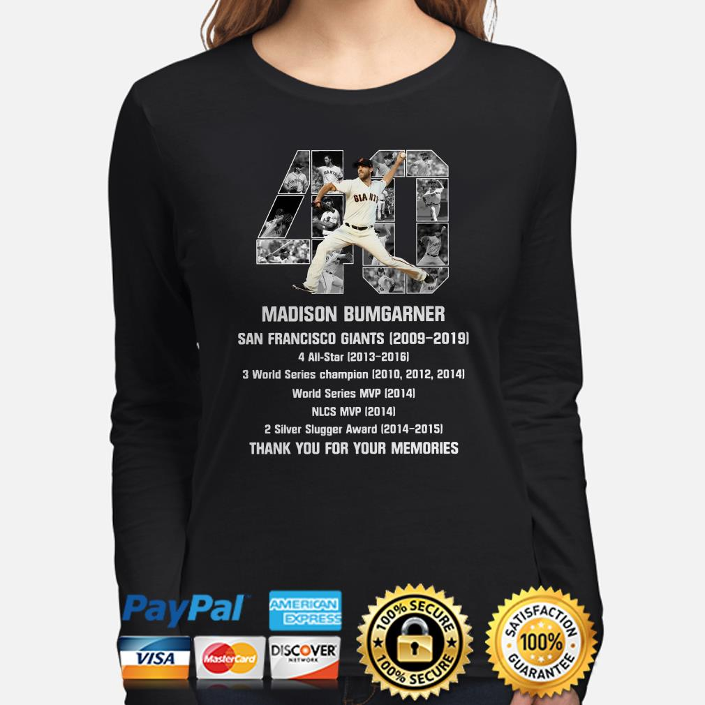 40 Madison Bumgarner San Francisco 2009 2019 thank you for the memories Long sleeve