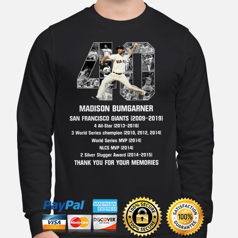 40 Madison Bumgarner San Francisco 2009 2019 thank you for the memories Sweater