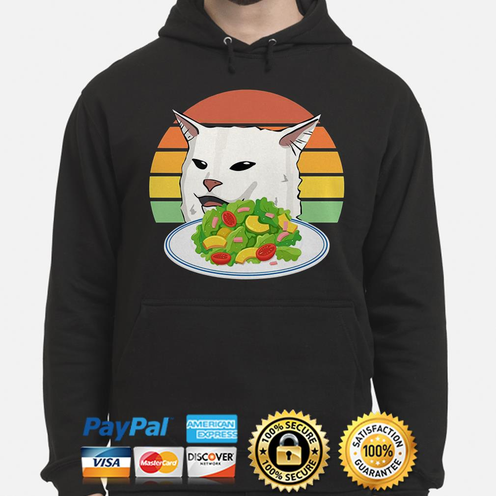 Angry woman yelling at confused cat at dinner table meme Hoodie