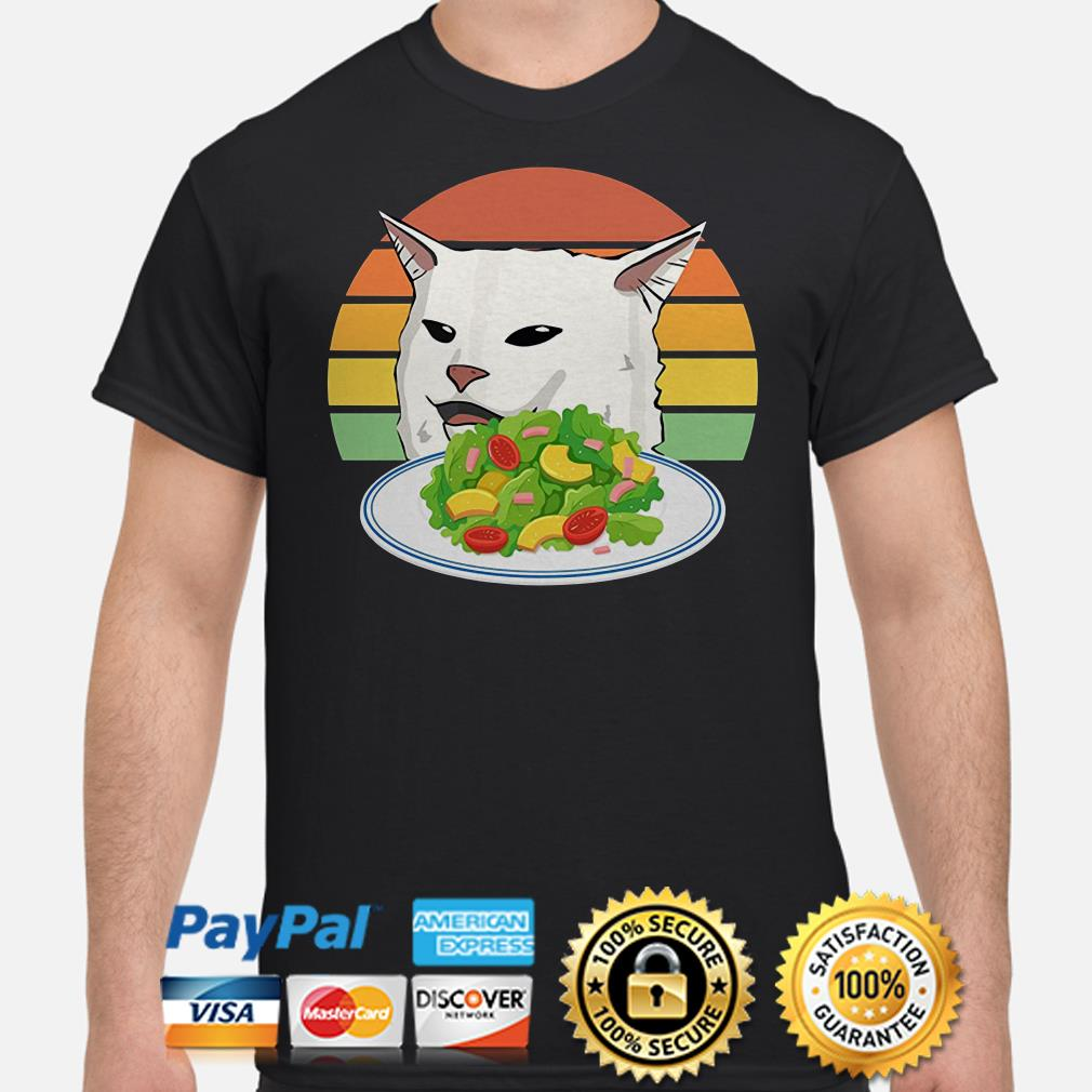 Angry woman yelling at confused cat at dinner table meme shirt