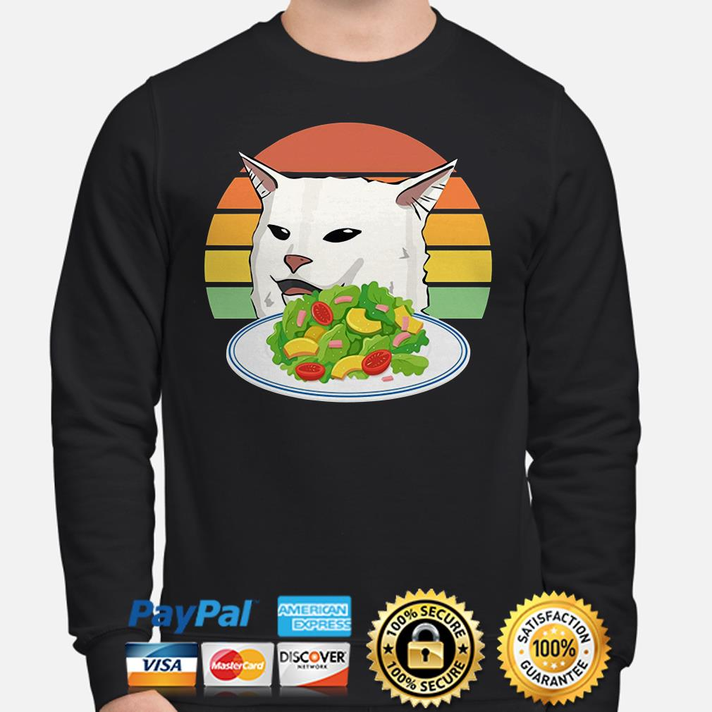 Angry woman yelling at confused cat at dinner table meme Sweater