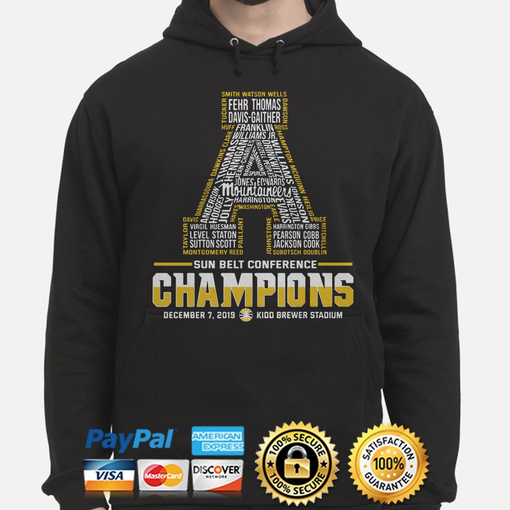 Appalachian State Mountaineers Sun Belt Conference 2019 Champions Hoodie