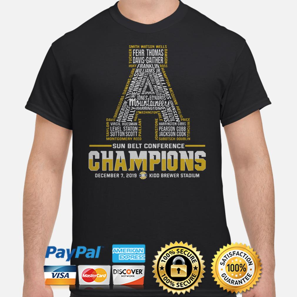 Appalachian State Mountaineers Sun Belt Conference 2019 Champions shirt