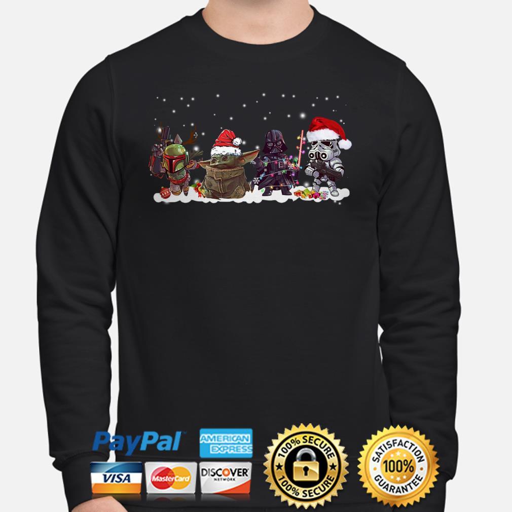 Baby Yoda, Darth Vader, Stormtrooper and Boba Fett Chibi Christmas sweater