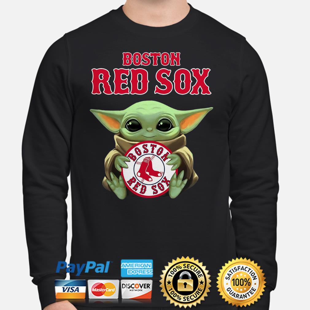 Baby Yoda hug Boston Red Sox Sweater