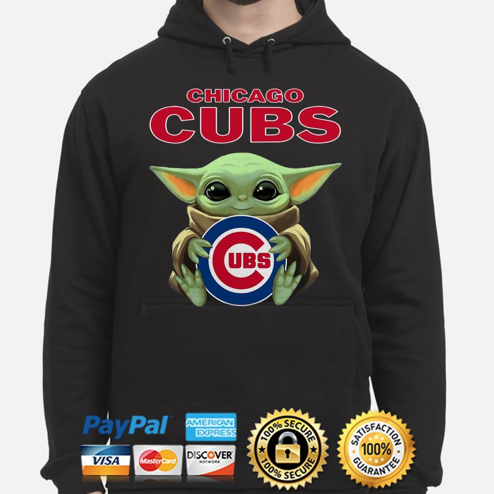 Baby Yoda hug CHicago Cubs Hoodie