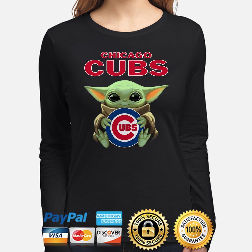 Baby Yoda hug CHicago Cubs Long sleeve