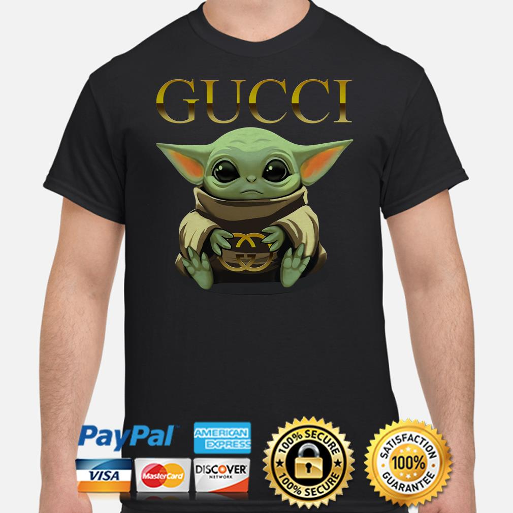 Baby Yoda hug Gucci shirt