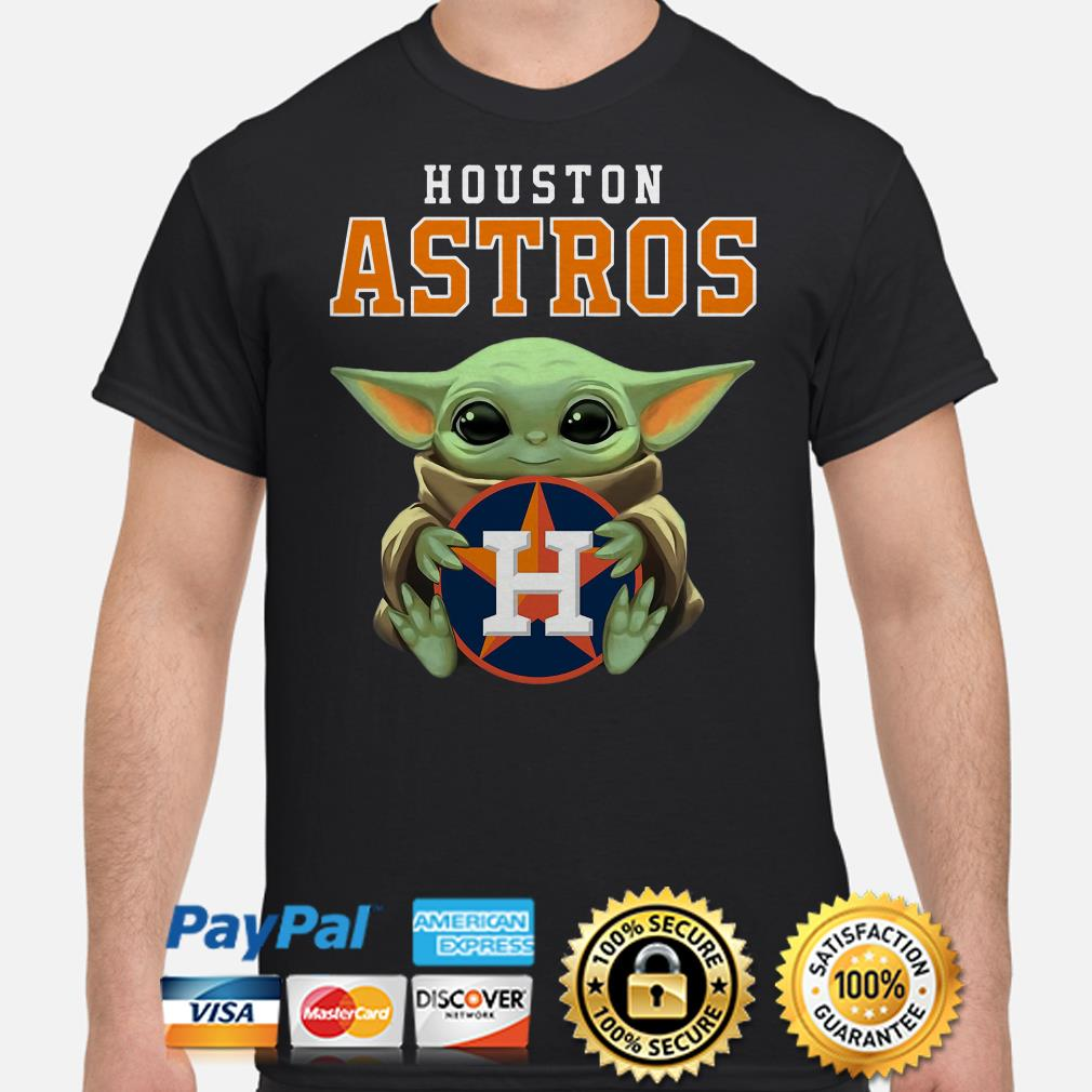 Baby Yoda hug Houston Astros shirt