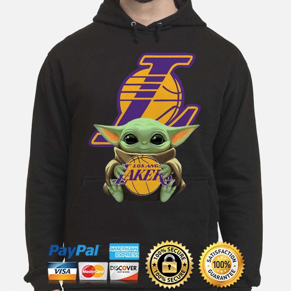 Baby Yoda hug Los Angeles Lakers Hoodie
