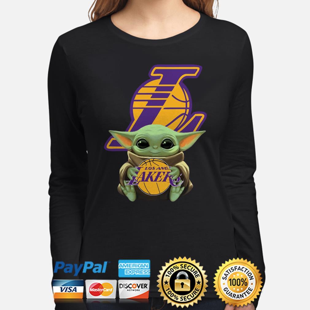 Baby Yoda hug Los Angeles Lakers Long sleeve