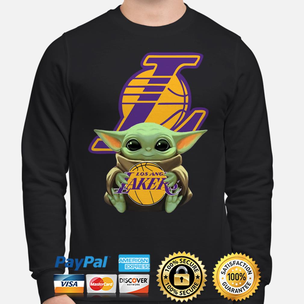 Baby Yoda hug Los Angeles Lakers Sweater