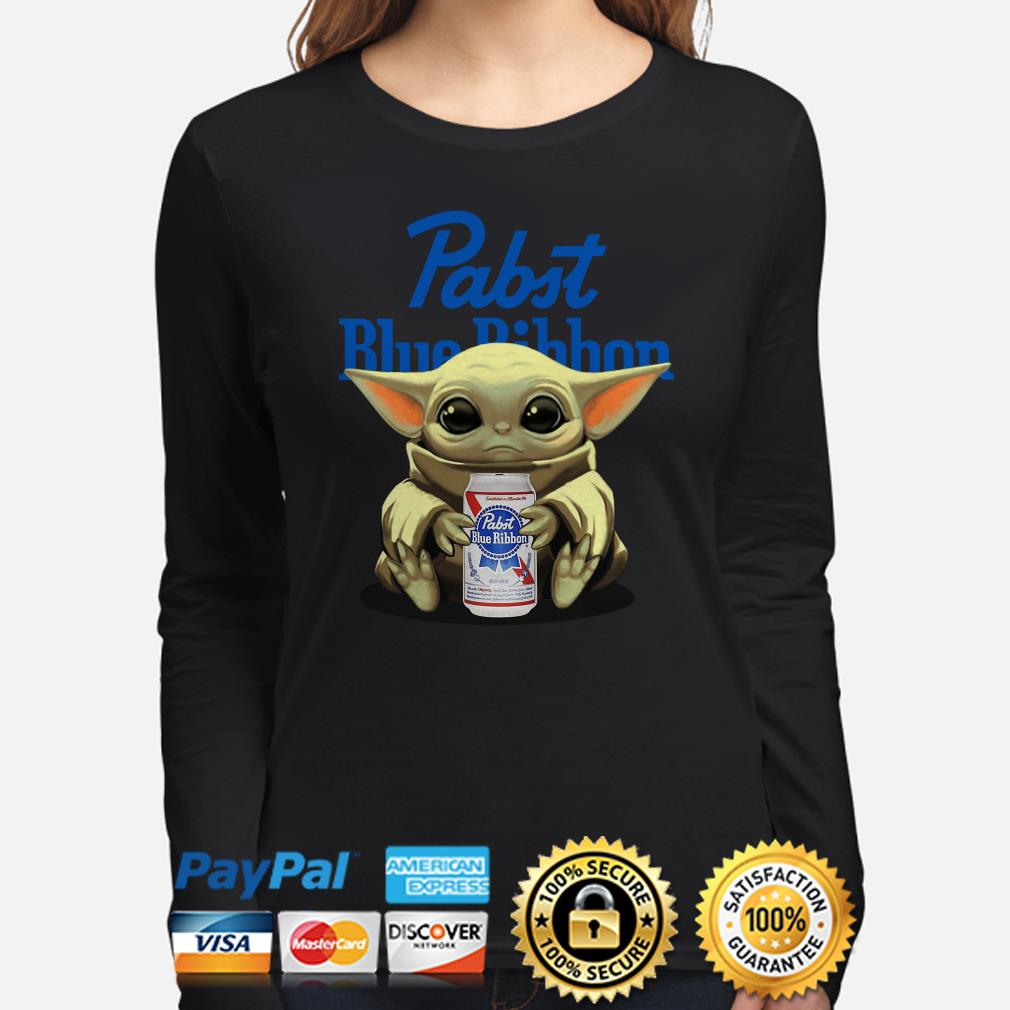 Baby Yoda hug Pabst Blue Ribbon beer Long sleeve