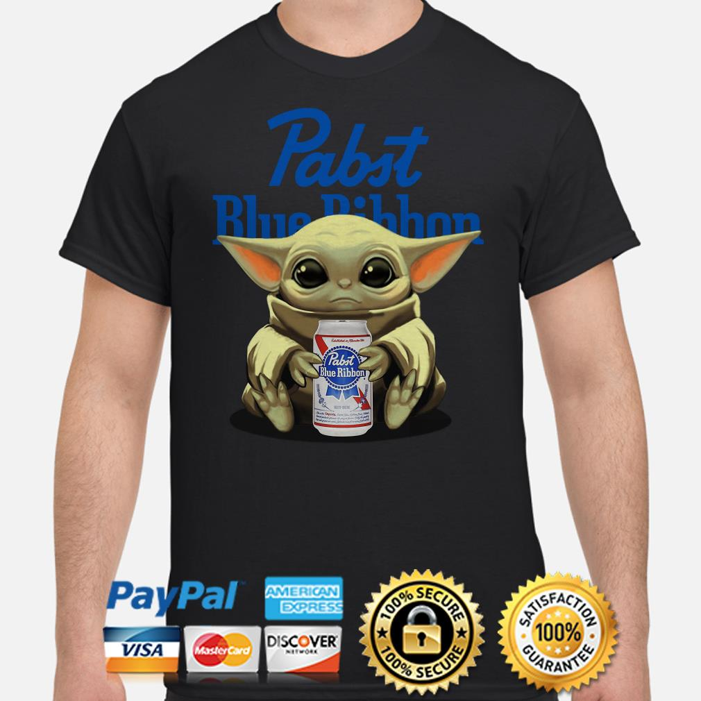 Baby Yoda hug Pabst Blue Ribbon beer shirt