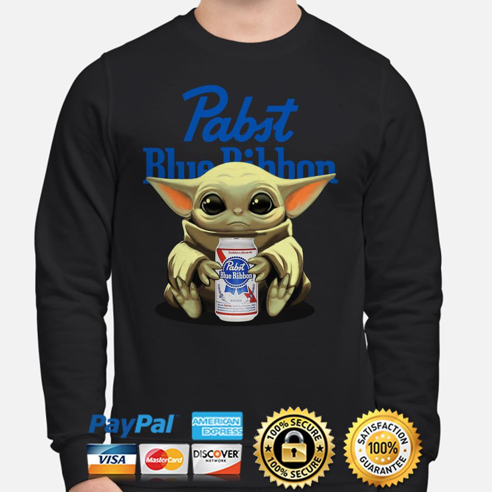 Baby Yoda hug Pabst Blue Ribbon beer Sweater