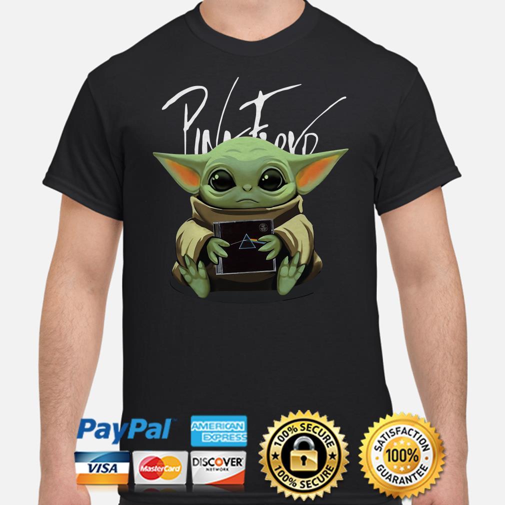 Baby Yoda hug Pink Floyd shirt