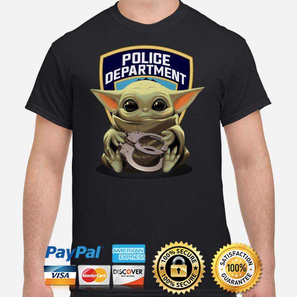 Baby Yoda hug Police Department shirt
