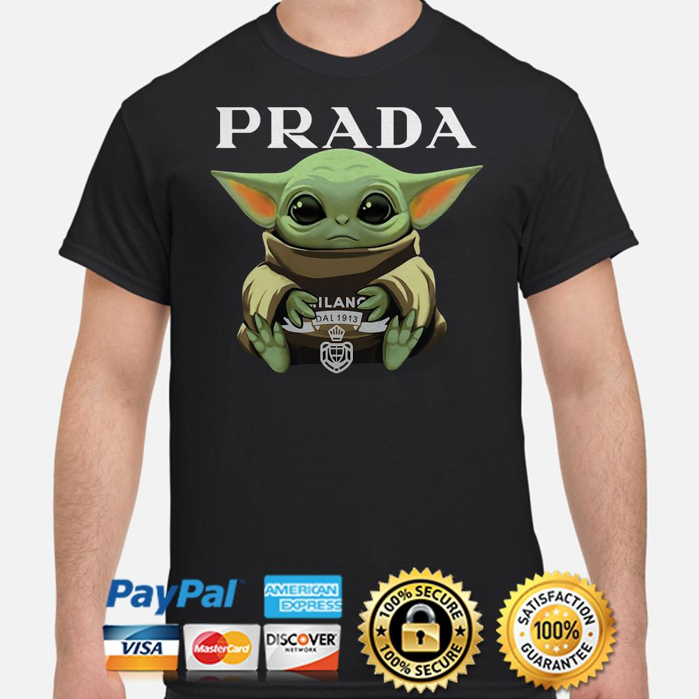 Baby Yoda hug Prada shirt
