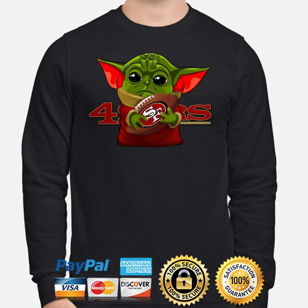 Baby Yoda hug San Francisco 49ers Hoodie