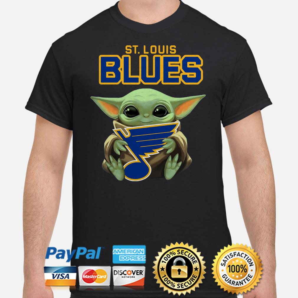 Baby Yoda hug St Louis Blues shirt