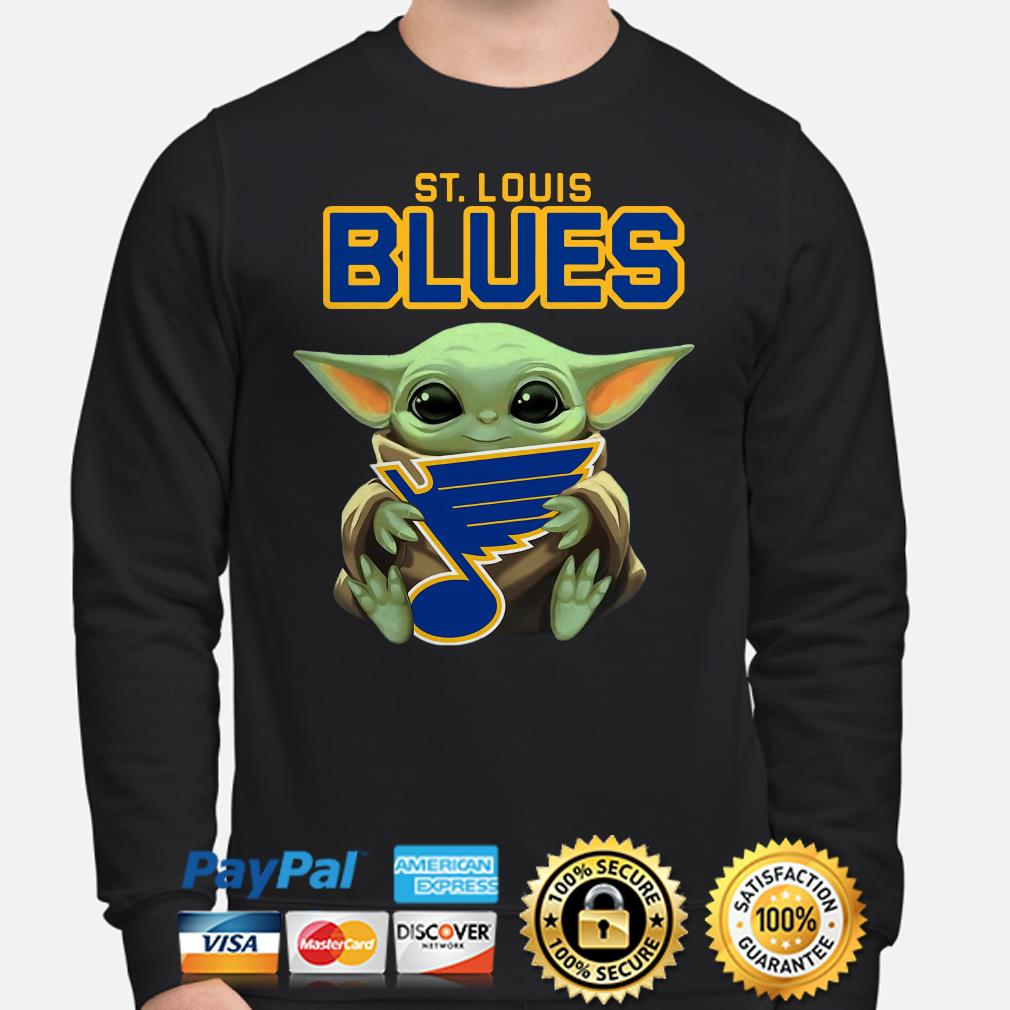 Baby Yoda hug St Louis Blues Sweater