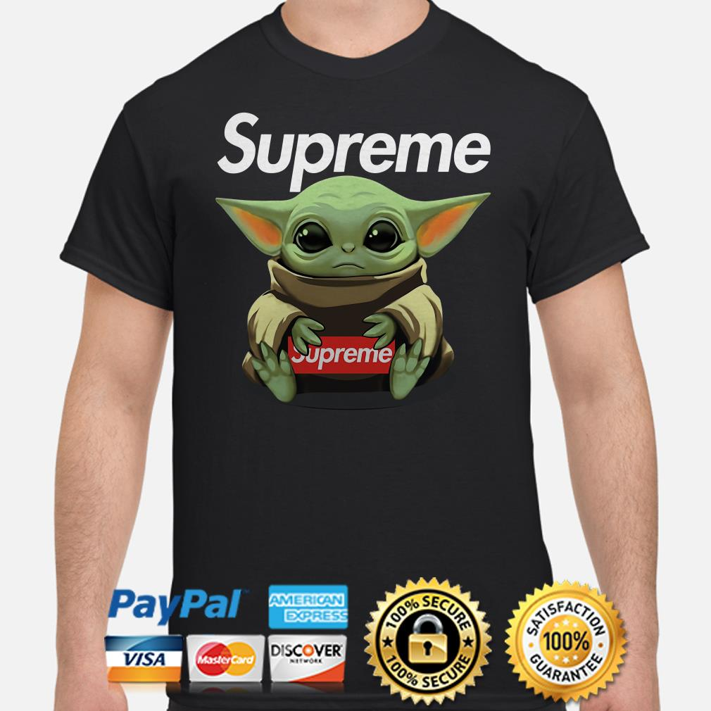 Baby Yoda hug Supreme shirt