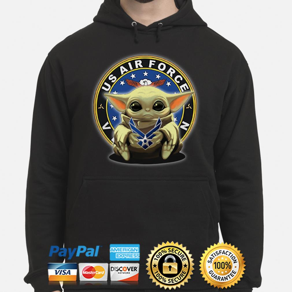 Baby Yoda hug US Air Force Veteran Hoodie