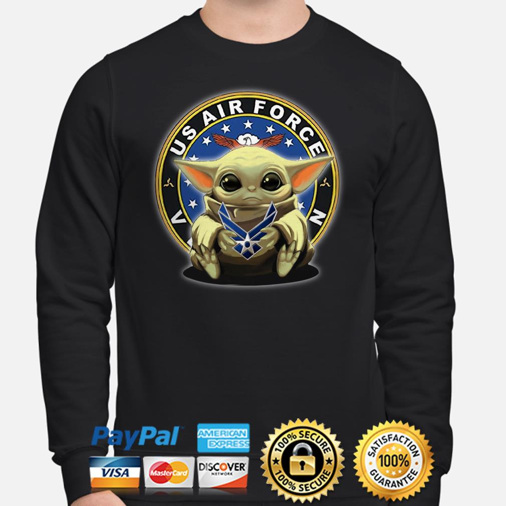Baby Yoda hug US Air Force Veteran Sweater